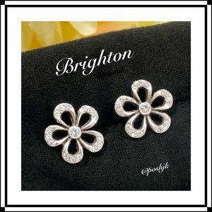 Brighton Earrings Swarovski Crystals Silver Flower